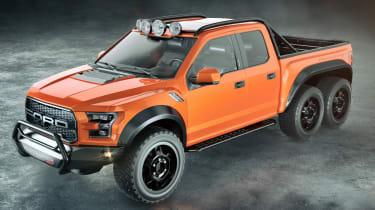 Hennessey VelociRaptor 6x6 - orange front quarter