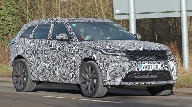 Range Rover Velar SVR spy shot front quarter