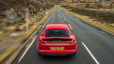 Porsche Panamera Turbo 2017 UK - rear overhead