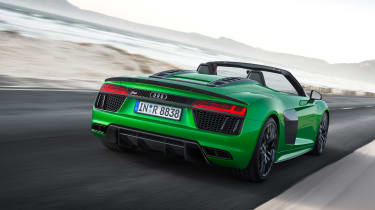 Audi R8 V10 Plus Spyder rear quarter dynamic
