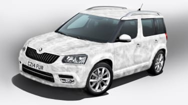 <span>Skoda introduced us to the Yeti Ice special edition for April Fools' Day 2014. The car features a special faux fur finish developed by Skoda engineers working in the Himalayas.&nbsp;</span>