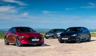 Mazda 3 vs Ford Focus vs Volkswagen Golf - header