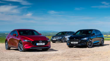 Mazda 3 vs Ford Focus vs Volkswagen Golf - header