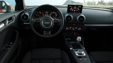 The A3 Sportback's interior is as solid and luxurious as you'd expect from Audi.