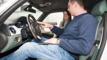 Hugo Griffiths inside the David Brown Automotive Speedback