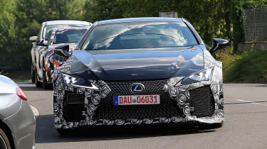 New Lexus LC F coupe spy shots front