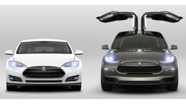 Tesla Model X next to Model S