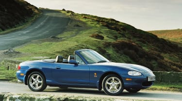 The MX-5 was 10 in 1999 and that called for the first of many anniversary editions. The 10<sup>th</sup> Anniversary edition wasn't just a mats and flaps job, it added a six-speed manual gearbox and Bilstein dampers to the standard pack