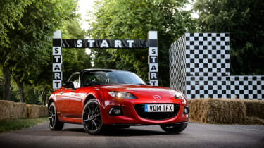 The last hurrah for the mk3 Mazda MX-5 was this, the 25<sup>th</sup> Anniversary Edition. Based around the Roadster Coupe model and its retractable hard-top roof the car features off-white leather seats embossed with a 25th Anniversary