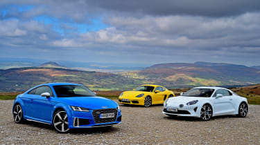Audi TTS vs Alpine A110 vs Porsche 718 Cayman - header