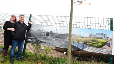 Gemma and Andy stand next to photo showing remains of plant and retail park that stands there today. New technical college also occupies land from factory, but students will still find it hard to get work in manufacturing in area