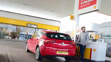 Vauxhall Astra petrol station