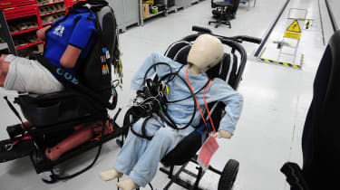Thatcham has various dummies to choose fromfor its tests.