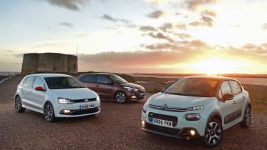 Citroen C3 vs Hyundai i20 vs Volkswagen Polo - header