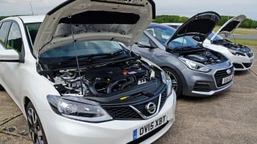 Nissan Pulsar vs Hyundai i30 & Peugeot 308 - engines