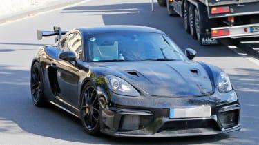 Porsche Cayman GT4 RS spy shots corner