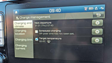 Hyundai Kona Electric long termer - screen pre-set heating