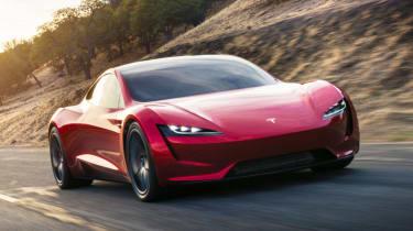 Tesla unveils new roadster - front