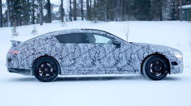 Mercedes AMG GT four door spy shot side profile