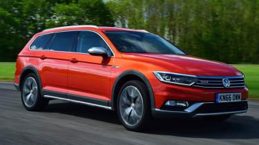 Volkswagen Passat Alltrack - orange front quarter