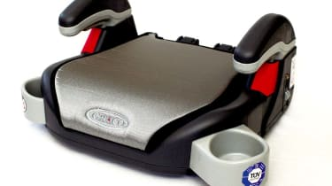 Booster cushions: Graco Booster £17A bit more sophisticated, this is effectively the bottom half of Graco's convertible seats. The padded cover is held to the plastic cushion by elastic, and you get two-position armrests, a