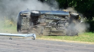 Jaguar rolling crash
