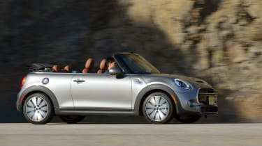 MINI Cooper S Convertible 2016 review - side tracking 2