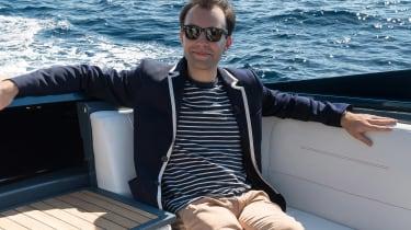 Aston Martin AM37S boat - James Batchelor sitting