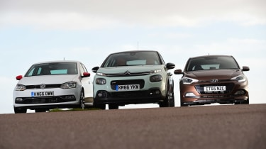 Citroen C3 vs Hyundai i20 vs Volkswagen Polo - head-to-head