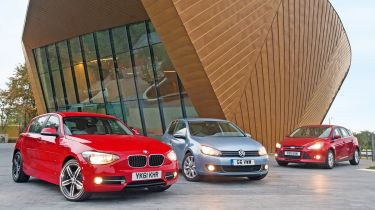 BMW 1 Series, Volkswagen Golf and Ford Focus