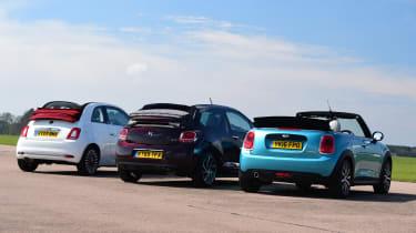 MINI Cooper Convertible vs Fiat 500C vs DS 3 Cabrio - group rear