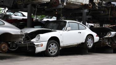 Crash damaged Porsche white