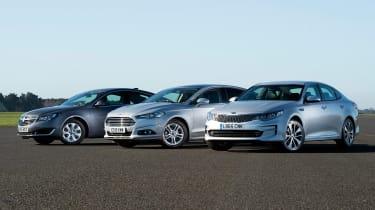 Kia Optima vs Ford Mondeo vs Vauxhall Insignia - header left