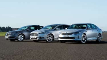 Kia Optima vs Ford Mondeo vs Vauxhall Insignia - header left