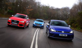 VW Golf R vs Audi RS Q3 vs Mercedes A45 AMG
