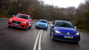 VW Golf R vs Audi RS Q3 vs Mercedes A45 AMG