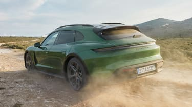 Porsche Taycan Cross Turismo - green rear off-road