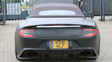 Aston Vanquish Zagato cabrio mule rear spyshots