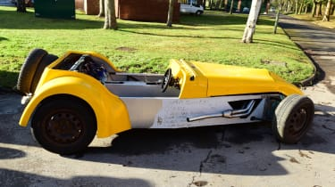 Yellow classic car - side