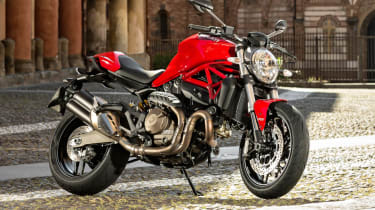Ducati Monster 821 review - red parked