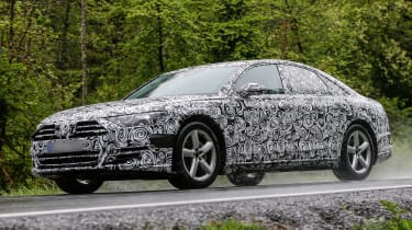 New Audi A8 spies side front rain