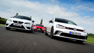 Volkswagen Golf GTI Clubsport vs SEAT Leon Cupra 290 vs Honda Civic Type R - header