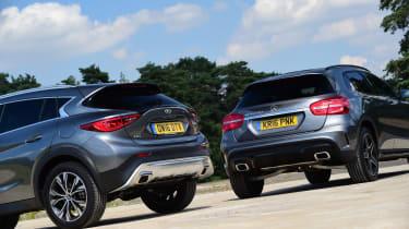 Infiniti QX30 vs Mercedes GLA vs BMW X1 - rear twin