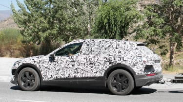 Audi e-tron spy shot side