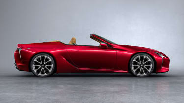 Lexus LC Convertible - side red roof down
