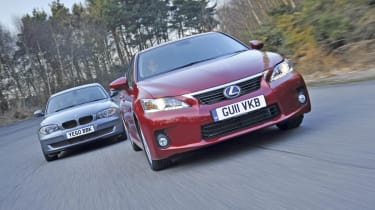 Lexus CT200h vs. BMW 1-Series front track