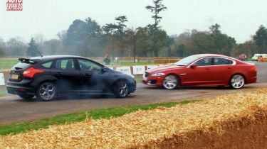 Ford Focus ST vs Jaguar XFR stunt test