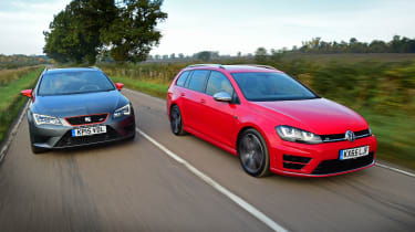Volkswagen Golf R Estate vs SEAT Leon ST Cupra 280 front tracking