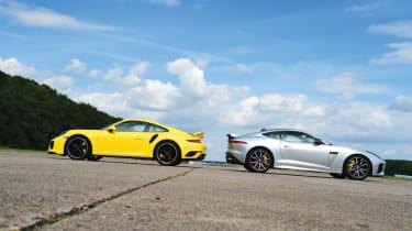 Jaguar F-Type SVR vs Porsche 911 Turbo - header