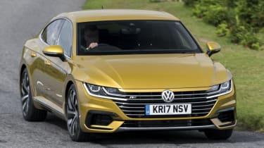 Volkswagen Arteon review - gold cornering